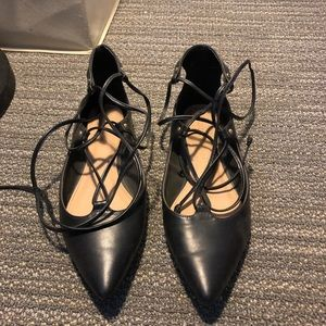 Black pointed flats. Lace up ankle